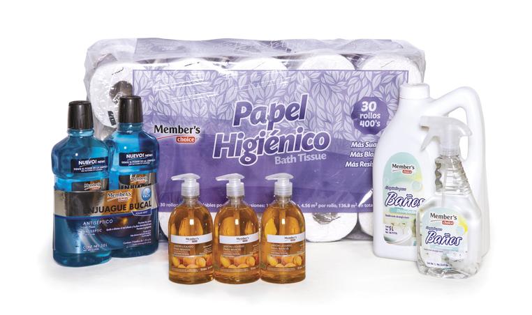 Para cuidar tu salud: enjuague bucal, papel higiénico, toallas desinfectantes antibacteriales, jabón líquido antibacterial y limpiador de baños Member's Choice