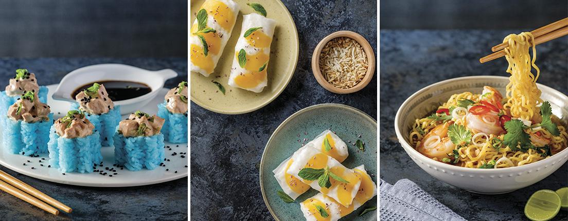 Platillos asiáticos: sushi, sticky rice y noodles