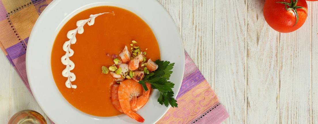 Crema de camarón y pistaches