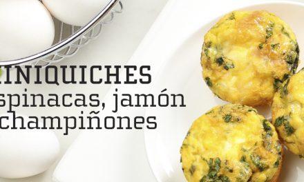 Miniquiches de espinacas, jamón y champiñones