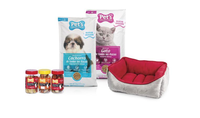 Para tus mascotas: botana para perro, alimento para perro en varias presentaciones, alimento para gato y cama para perro o gato. Member's Choice