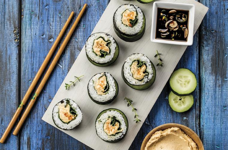 Tapitas de sushi con mousse de salmón