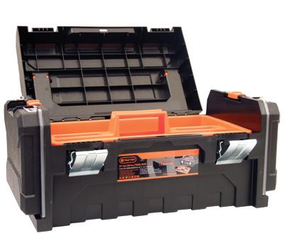 Caja de herramientas con organizadores, agarradera de aluminio y broches de acero. Marca Tactix