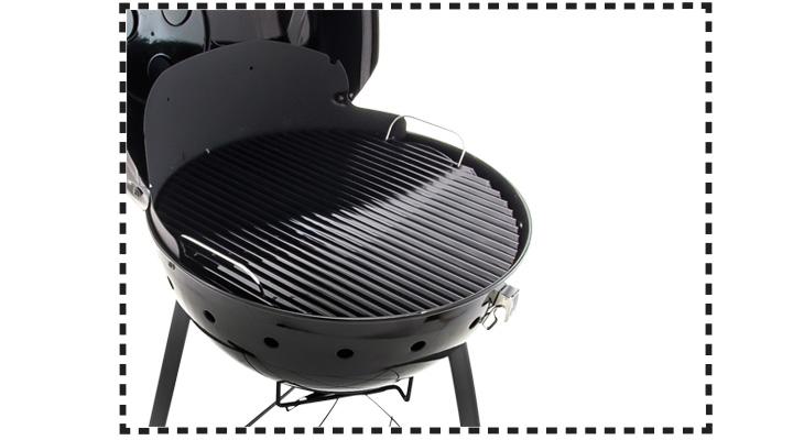 Cuerpo, tapa y parrilla principal de acero porcelanizado que reduce las llamaradas y cocina con menos carbón