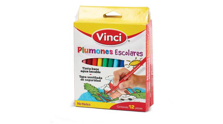 PLUMONES ESCOLARES 12 pzas. VINCI - 7501014690636