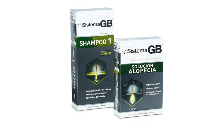 Shampoo Sistema GB, 230 ml, GENOMMA LAB y Solución Sistema GB, 60 ml, GENOMMA LAB