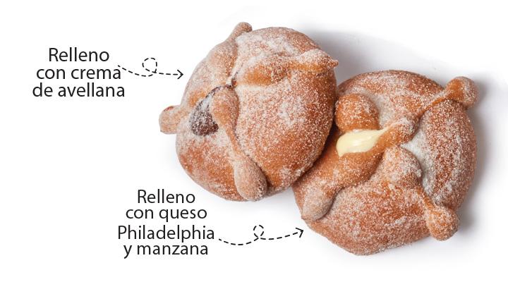 Pan de muerto con relleno de avellana y relleno de queso Philadelphia y manzana