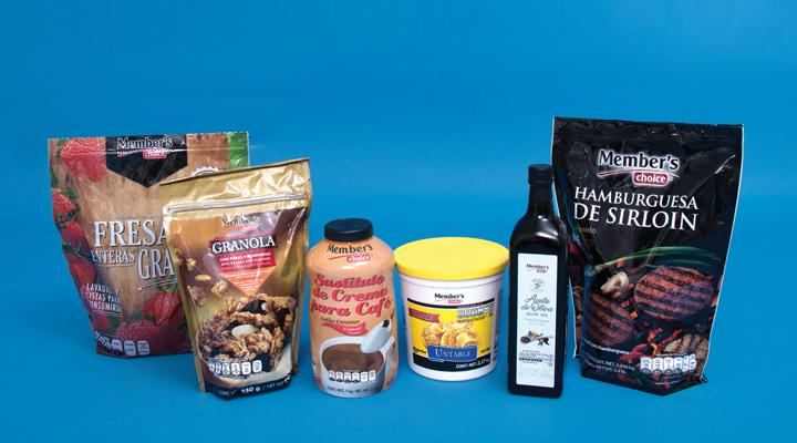 Productos Member's Choice: Hamburguesa de Sirloin, Aceite de Oliva, Margarina untable, Sustituto de crema para café, Granola, y Fresas enteras