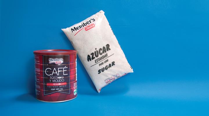 Productos Member's Choice: Café tostado y molido, y azúcar estándar