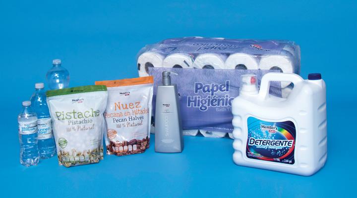 Productos Member's Choice: Detergente de ropa, Papel higiénico, Shampoo, Nuez pecana, Pistache, Agua purificada