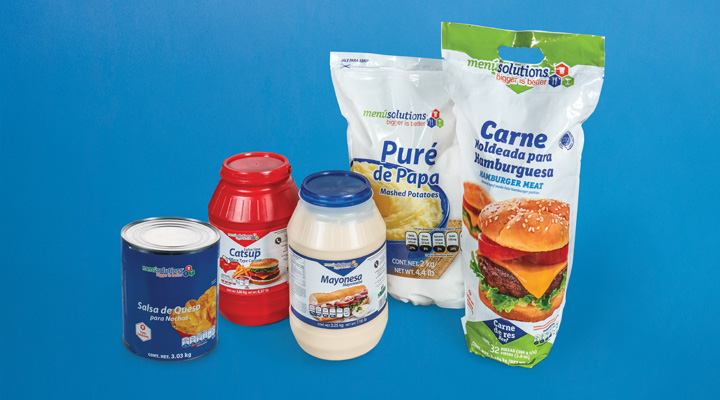 Productos Menú Solutions: Carne moldeada para hamburguesas, Puré de papa, Mayonesa, Catsup, y Salsa de queso para nachos