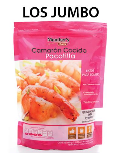 CAMARONES COCIDOS CON COLA  Tamaño jumbo, 680 g  MEMBER'S CHOICE - 7500093725437