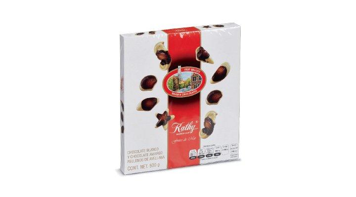 CHOCOLATES FRUTOS DEL MAR Chocolate blanco y amargo rellenos de avellana, 500 g KATHY