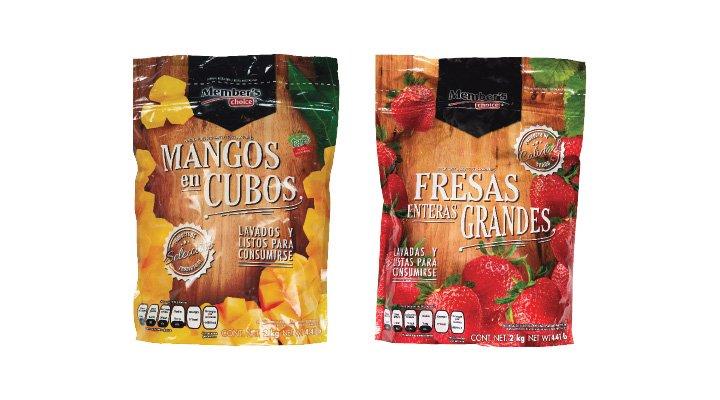 FRUTAS CONGELADAS 2 kg MEMBER'S CHOICE: MANGO EN CUBOS - 7500093255941; FRESAS ENTERAS GRANDES - 7506005438525