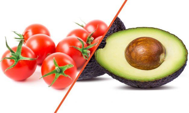 Tomate cherry y aguacate, nutrición de temporada