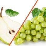 Dos frutas ricas y dulces: Pera y Uva blanca