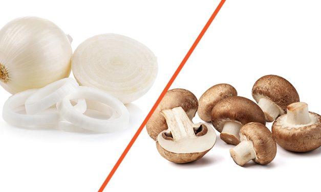 Champiñones y cebolla: Perfecta combinación para tus platillos.